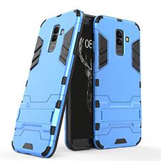 Etui Contour Silicone et Plastique Mat avec Support pour Samsung Galaxy A9 Star Lite Bleu