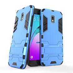 Etui Contour Silicone et Plastique Mat avec Support pour Samsung Galaxy Amp Prime 3 Bleu