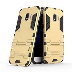 Etui Contour Silicone et Plastique Mat avec Support pour Samsung Galaxy J2 Pro (2018) J250F Or