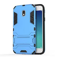 Etui Contour Silicone et Plastique Mat avec Support pour Samsung Galaxy J3 Pro (2017) Bleu