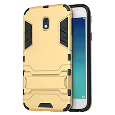 Etui Contour Silicone et Plastique Mat avec Support pour Samsung Galaxy J3 Star Or