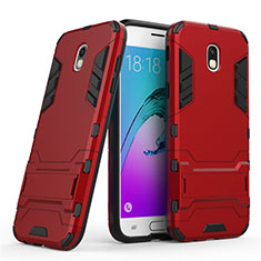 Etui Contour Silicone et Plastique Mat avec Support pour Samsung Galaxy J5 (2017) SM-J750F Rouge