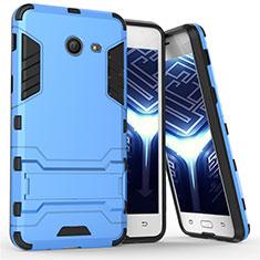 Etui Contour Silicone et Plastique Mat avec Support pour Samsung Galaxy J5 (2017) Version Americaine Bleu
