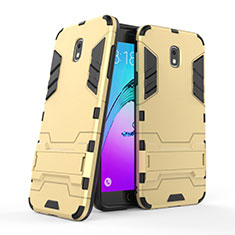 Etui Contour Silicone et Plastique Mat avec Support pour Samsung Galaxy J7 (2018) J737 Or
