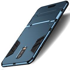 Etui Contour Silicone et Plastique Mat avec Support pour Samsung Galaxy J7 Plus Cyan