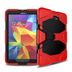 Etui Contour Silicone et Plastique Mat avec Support pour Samsung Galaxy Tab A6 10.1 SM-T580 SM-T585 Rouge