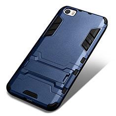 Etui Contour Silicone et Plastique Mat avec Support pour Xiaomi Mi 5 Bleu