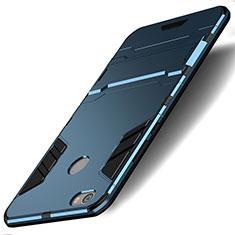 Etui Contour Silicone et Plastique Mat avec Support pour Xiaomi Redmi Y1 Bleu