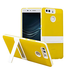 Etui Contour Silicone et Vitre Mat avec Bequille pour Huawei P9 Plus Jaune