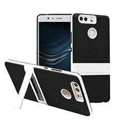 Etui Contour Silicone et Vitre Mat avec Bequille pour Huawei P9 Plus Noir