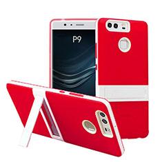Etui Contour Silicone et Vitre Mat avec Bequille pour Huawei P9 Plus Rouge