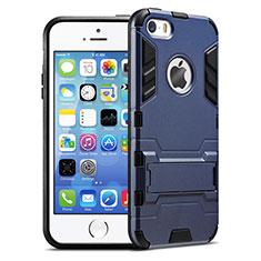 Etui Contour Silicone et Vitre Mat avec Support pour Apple iPhone 5S Bleu