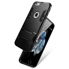 Etui Contour Silicone et Vitre Mat avec Support pour Apple iPhone 6S Plus Noir