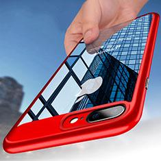 Etui Contour Silicone et Vitre Transparente B01 pour Apple iPhone 8 Plus Rouge