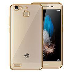 Etui Contour Silicone et Vitre Transparente Mat pour Huawei G8 Mini Or