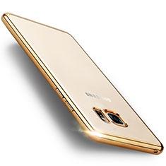 Etui Contour Silicone et Vitre Transparente Mat pour Samsung Galaxy Note 7 Or