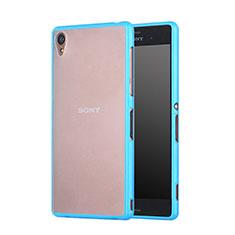 Etui Contour Silicone et Vitre Transparente Mat pour Sony Xperia Z3 Bleu Ciel