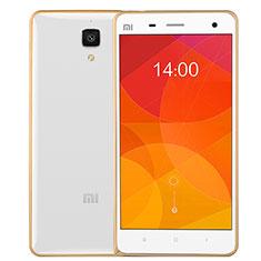 Etui Contour Silicone et Vitre Transparente Mat pour Xiaomi Mi 4 Or