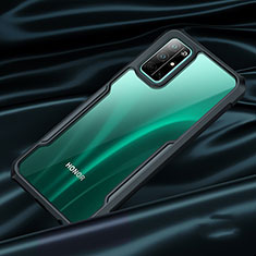 Etui Contour Silicone et Vitre Transparente Miroir pour Huawei Honor 30S Noir