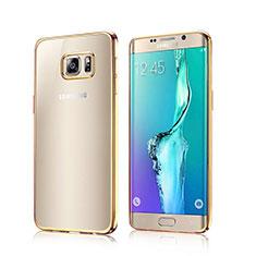 Etui Contour Silicone Transparente Gel pour Samsung Galaxy S6 Edge SM-G925 Or