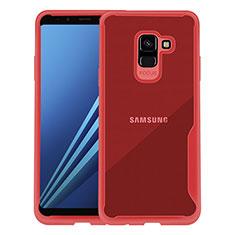 Etui Contour Silicone Transparente pour Samsung Galaxy A8+ A8 Plus (2018) A730F Rouge