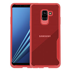 Etui Contour Silicone Transparente pour Samsung Galaxy A8+ A8 Plus (2018) Duos A730F Rouge