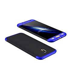 Etui Plastique Mat Protection Integrale 360 Degres Avant et Arriere pour Samsung Galaxy J7 Pro Bleu et Noir