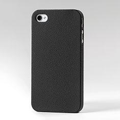 Etui Plastique Rigide Cuir pour Apple iPhone 4S Noir