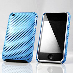 Etui Plastique Rigide Mailles Filet pour Apple iPhone 3G 3GS Bleu Ciel
