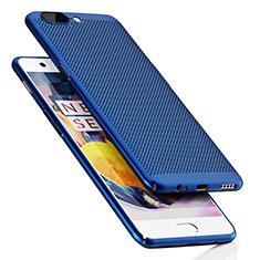 Etui Plastique Rigide Mailles Filet pour OnePlus 5 Bleu