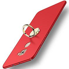 Etui Plastique Rigide Mat avec Support Bague Anneau A02 pour Huawei Mate S Rouge