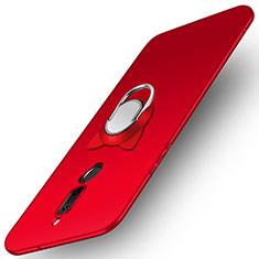 Etui Plastique Rigide Mat avec Support Bague Anneau A02 pour Huawei Rhone Rouge