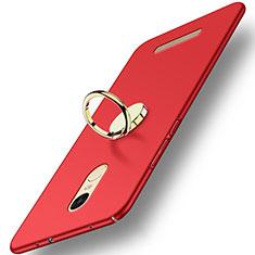 Etui Plastique Rigide Mat avec Support Bague Anneau A02 pour Xiaomi Redmi Note 3 Pro Rouge