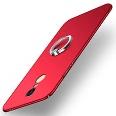 Etui Plastique Rigide Mat avec Support Bague Anneau A02 pour Xiaomi Redmi Note 4 Standard Edition Rouge