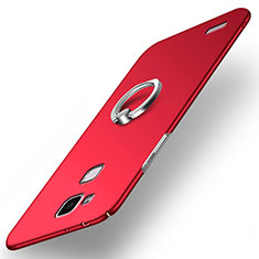 Etui Plastique Rigide Mat avec Support Bague Anneau A03 pour Huawei Mate 7 Rouge