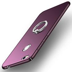 Etui Plastique Rigide Mat avec Support Bague Anneau A03 pour Huawei P8 Lite (2017) Violet