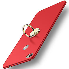 Etui Plastique Rigide Mat avec Support Bague Anneau A03 pour Xiaomi Mi Max Rouge