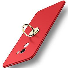 Etui Plastique Rigide Mat avec Support Bague Anneau A03 pour Xiaomi Mi Mix Rouge