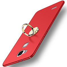 Etui Plastique Rigide Mat avec Support Bague Anneau A04 pour Huawei Mate 7 Rouge
