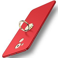 Etui Plastique Rigide Mat avec Support Bague Anneau A04 pour Huawei Mate 8 Rouge