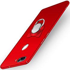 Etui Plastique Rigide Mat avec Support Bague Anneau A04 pour Huawei Nova 2 Plus Rouge