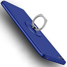 Etui Plastique Rigide Mat avec Support Bague Anneau A04 pour Xiaomi Mi 5 Bleu