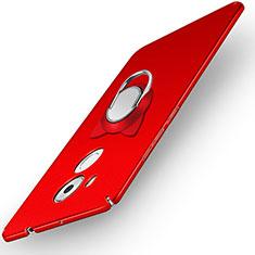 Etui Plastique Rigide Mat avec Support Bague Anneau A05 pour Huawei Mate 8 Rouge