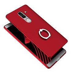 Etui Plastique Rigide Mat avec Support Bague Anneau A07 pour Huawei Honor 6X Pro Bleu