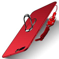 Etui Plastique Rigide Mat avec Support Bague Anneau et Laniere pour Huawei P10 Rouge