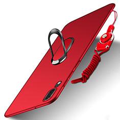 Etui Plastique Rigide Mat avec Support Bague Anneau et Laniere pour Huawei P20 Rouge