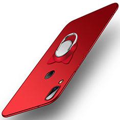 Etui Plastique Rigide Mat avec Support Bague Anneau pour Huawei Nova 3e Rouge