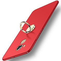 Etui Plastique Rigide Mat avec Support Bague Anneau pour Huawei Nova Plus Rouge