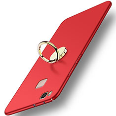 Etui Plastique Rigide Mat avec Support Bague Anneau pour Huawei P9 Lite Rouge