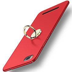 Etui Plastique Rigide Mat avec Support Bague Anneau pour Xiaomi Mi 4C Rouge